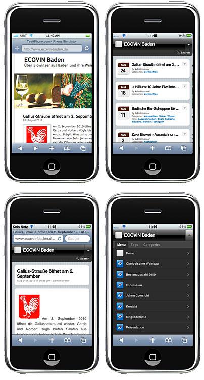iPhone-Darstellung von ECOVIN Baden