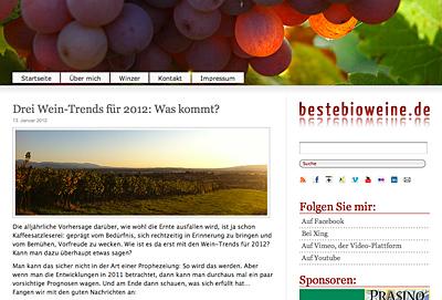 Drei Trends für 2012 auf bestebioweine.de