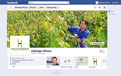 Die Facebook-Seite der Haltinger Winzer