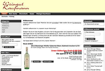 Homepage und Shop des Weingutes Kaufmann