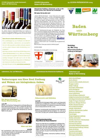 Info-Flyer zur ECOVIN-Präsentation 2014