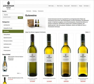 Responsiver Weinshop des Weinguts Zähringer