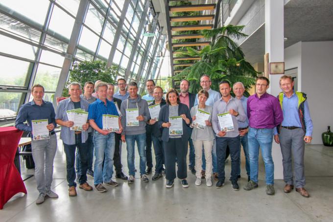 Die Sieger der Biowein-Prämierung der Besten Bioweine Baden-Württemberg 2018 bei der Übergabe der Urkunden am 17.Mai i Freiburg